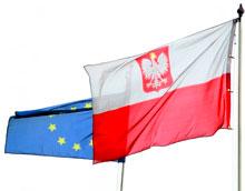 flaga Polski i flaga UE