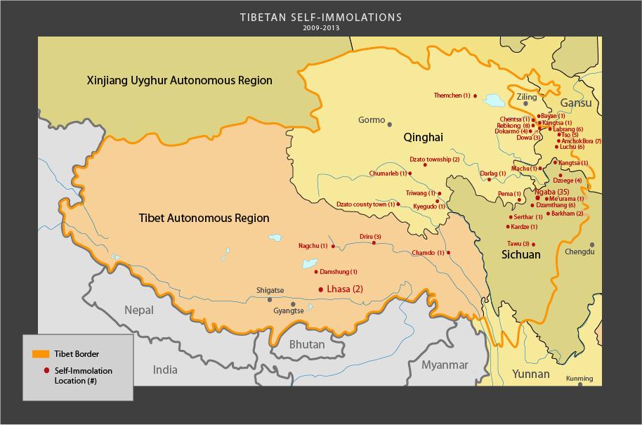 Mapa samodpaleń, źródło Save Tibet